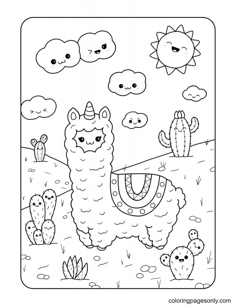 Kawaii llamas and cactus Coloring Page