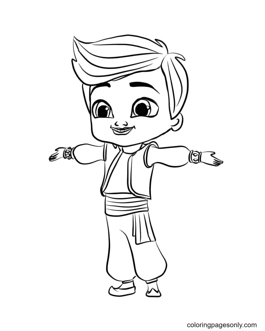 Kaz from Shimmer and Shine Coloring Page