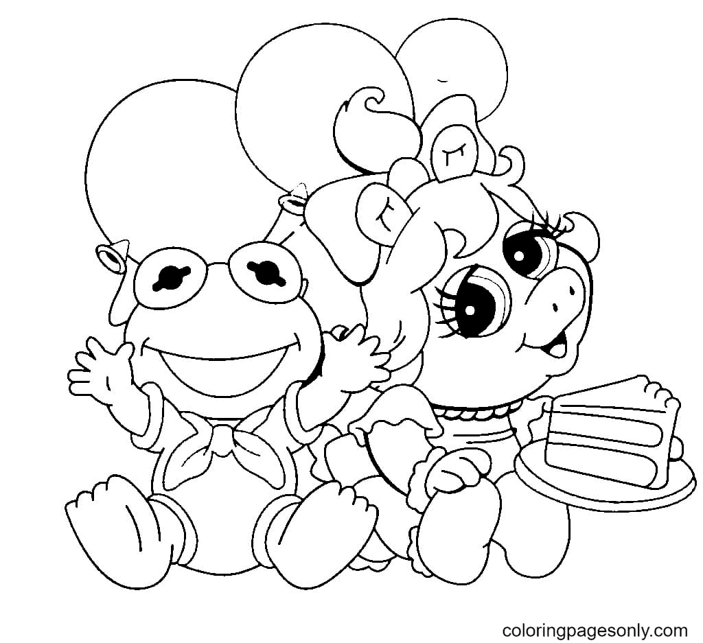 Kermit and Piggy Coloring Page