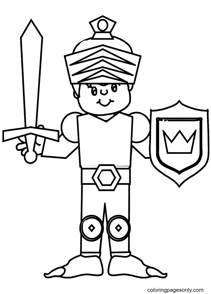 Kid Knight Coloring Page