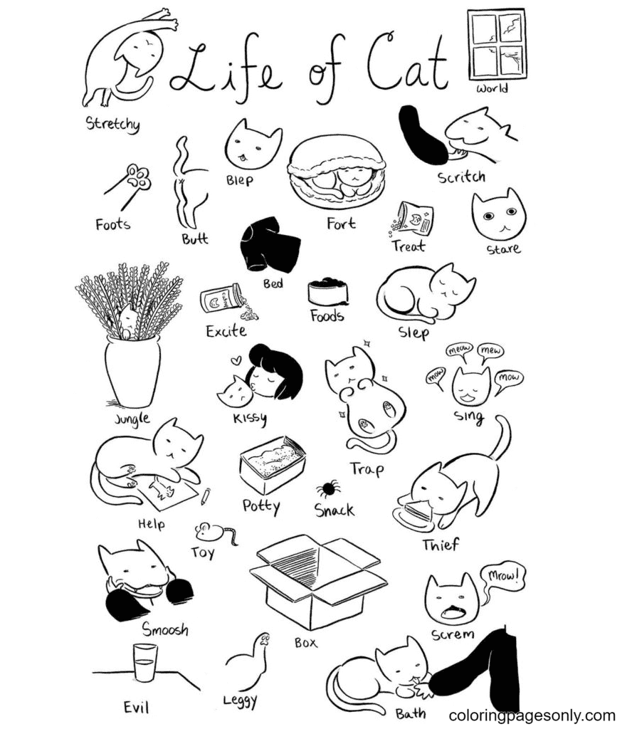 Kittens Aesthetics Coloring Page