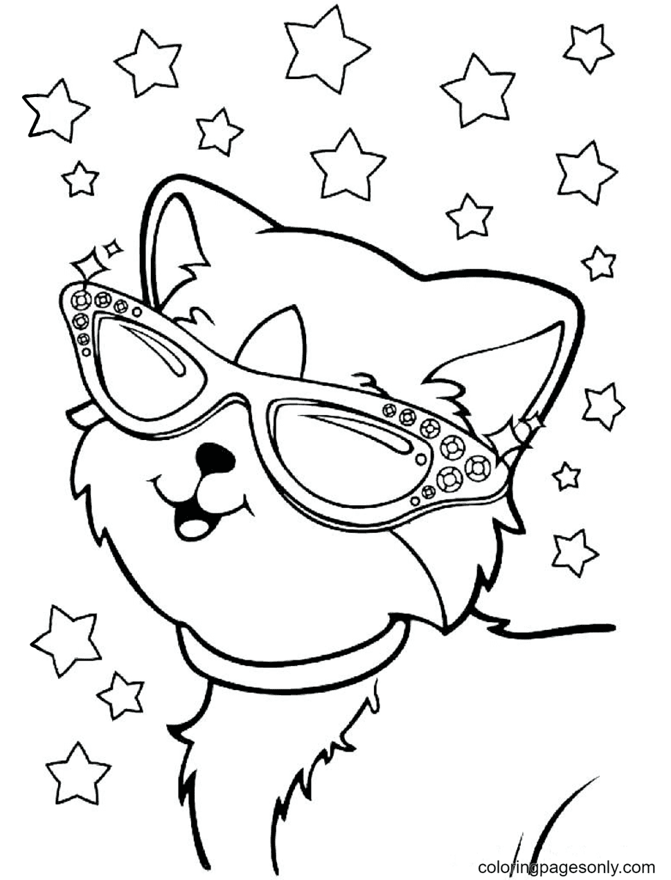 Kitty Wearing Glasses Coloring Page