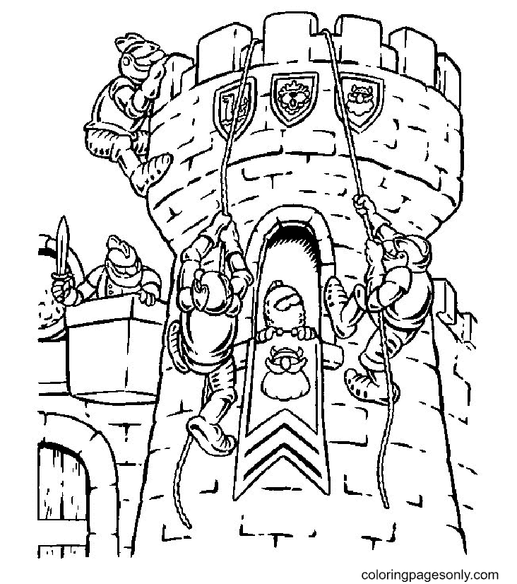 Knight Climbs the Castle Coloring Page