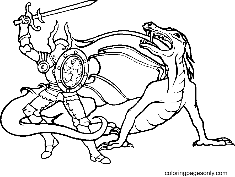 Knight Fighting Monsters Coloring Page