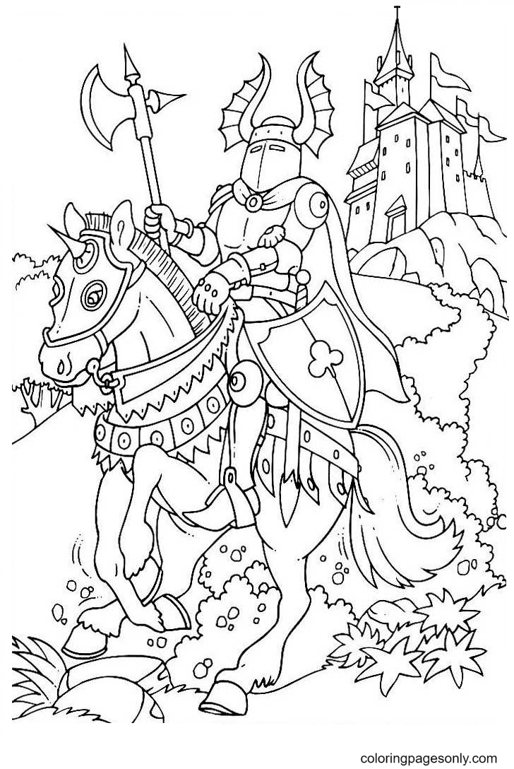 Knight Holding a Battle Ax on Horseback Coloring Page