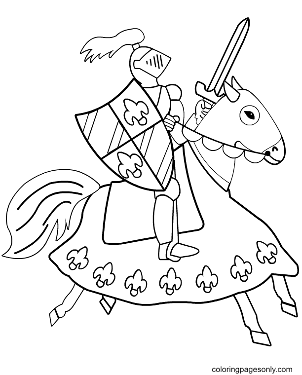 Knight Horse Coloring Page