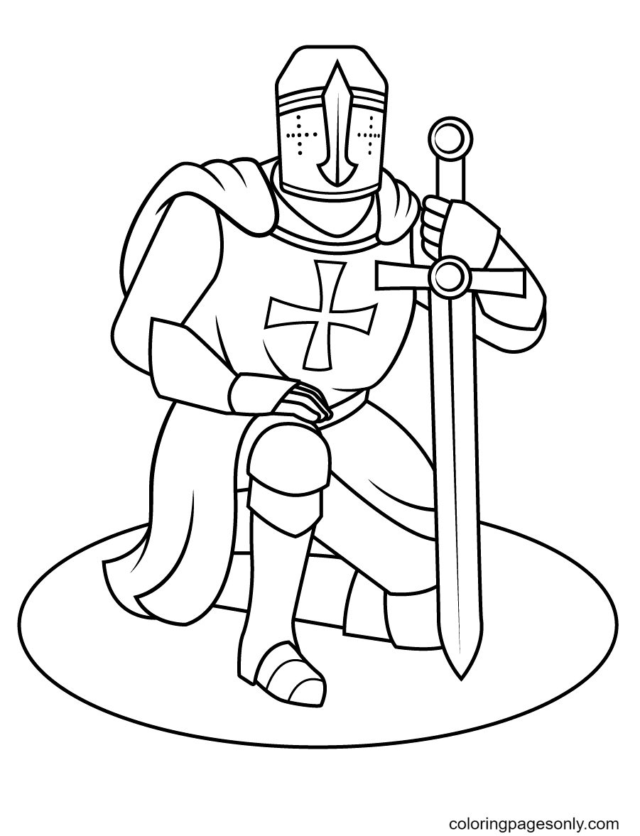 Knight Kneeling Down Coloring Page