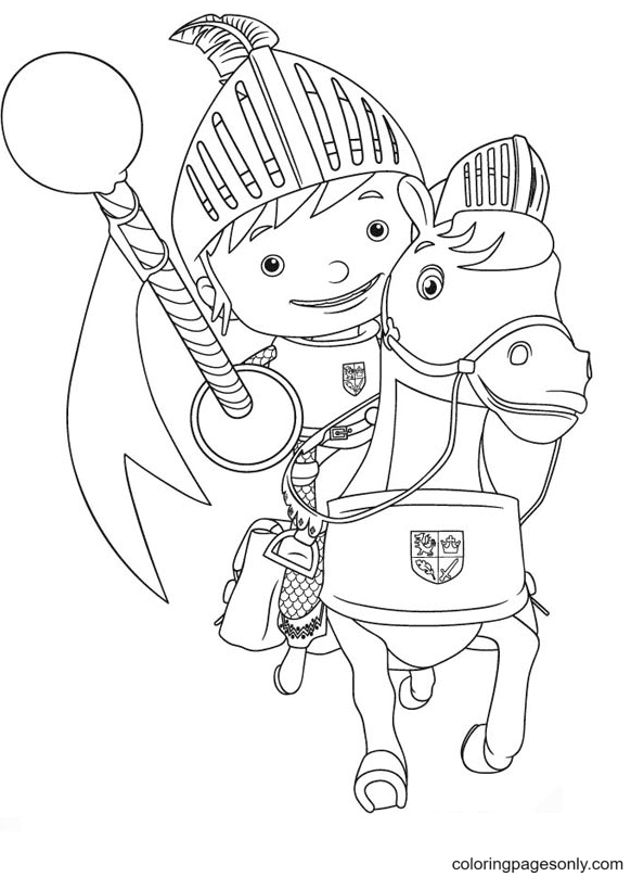 Knight Mike on Horseback Coloring Page