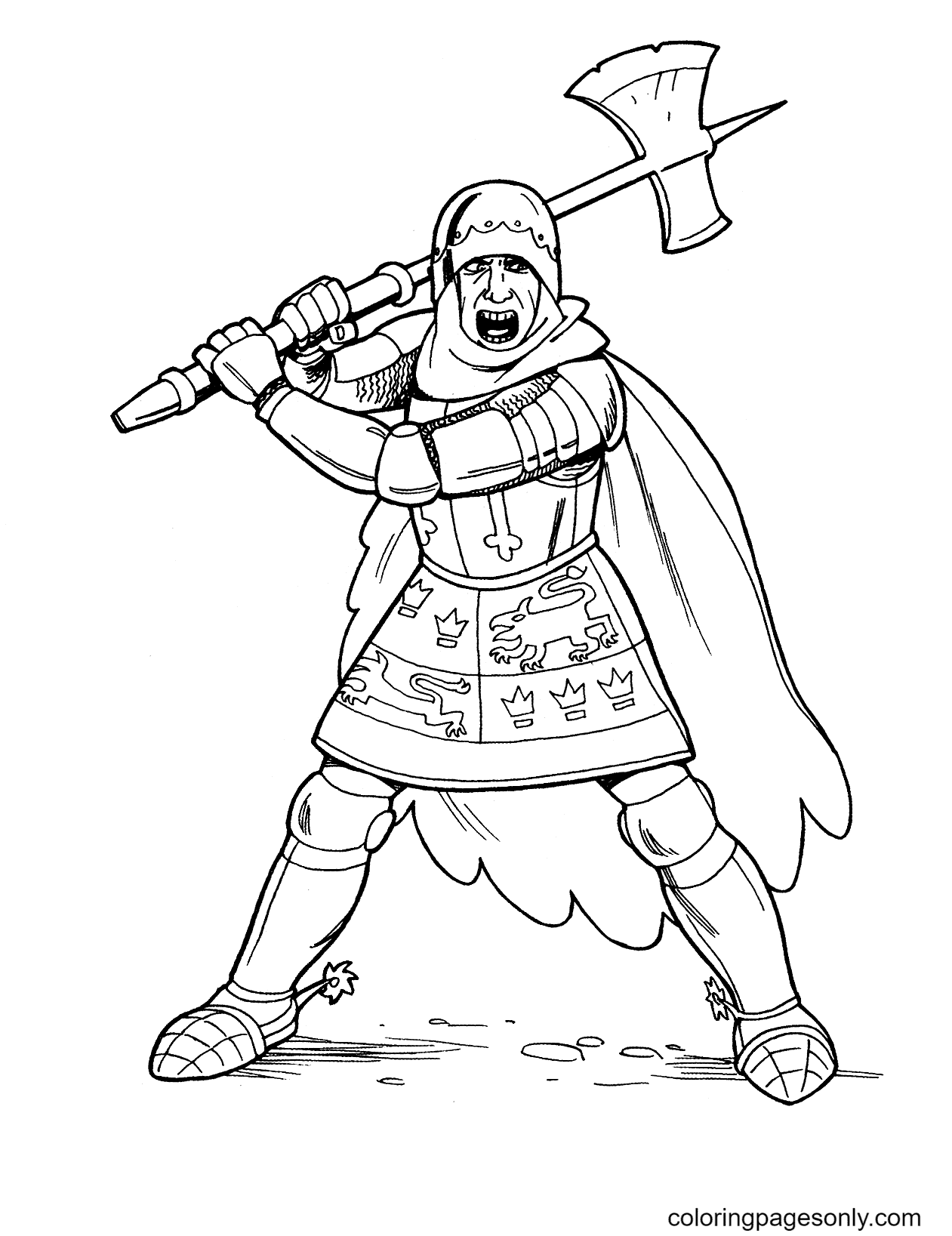 Knight Ready to Fight with Ax in Hand Coloring Page