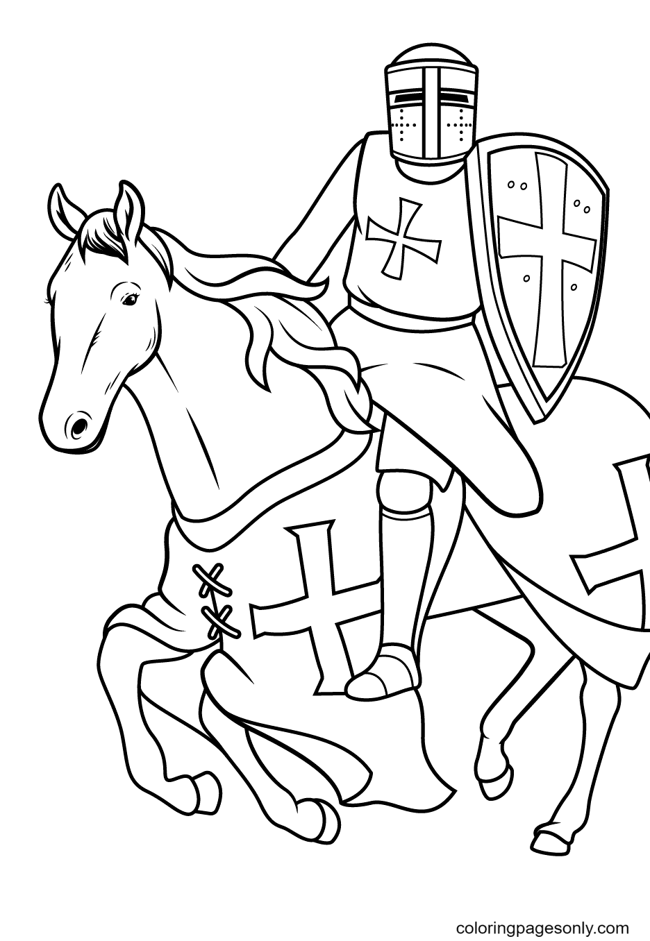 Knight Riding on His Steed Coloring Page