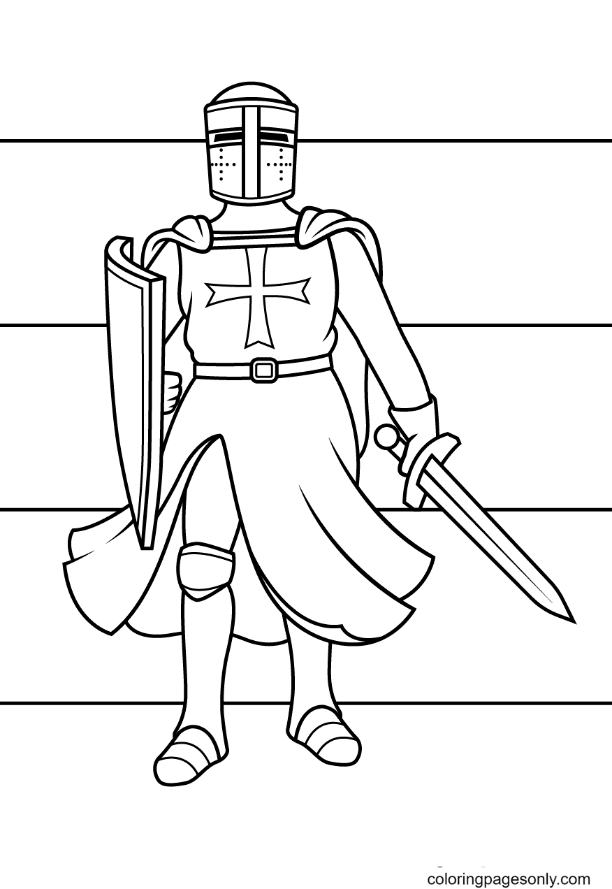 Knight Towards The Battle Coloring Page