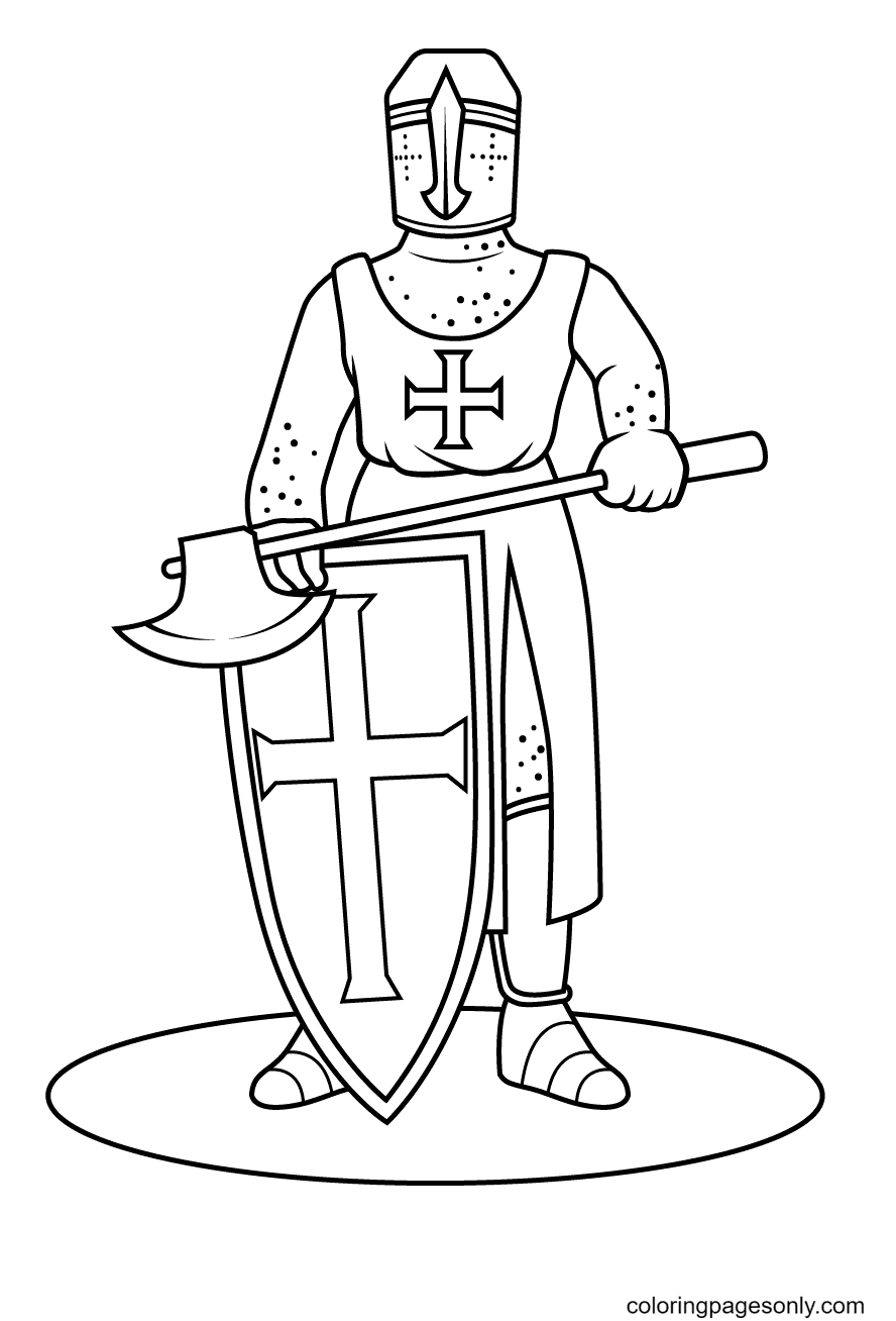 Knight With A Battle Axe Coloring Page