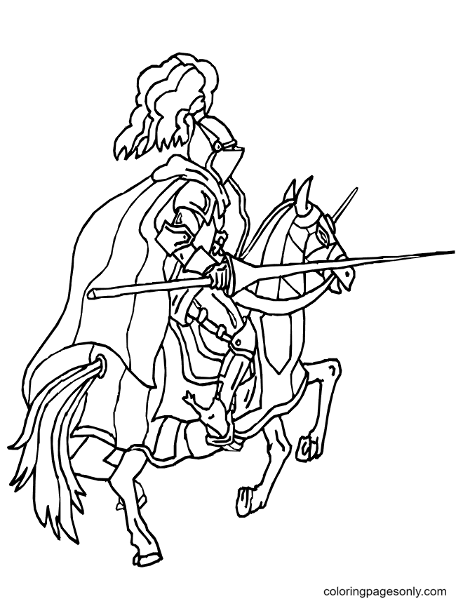 Knight With A Battle Coloring Page
