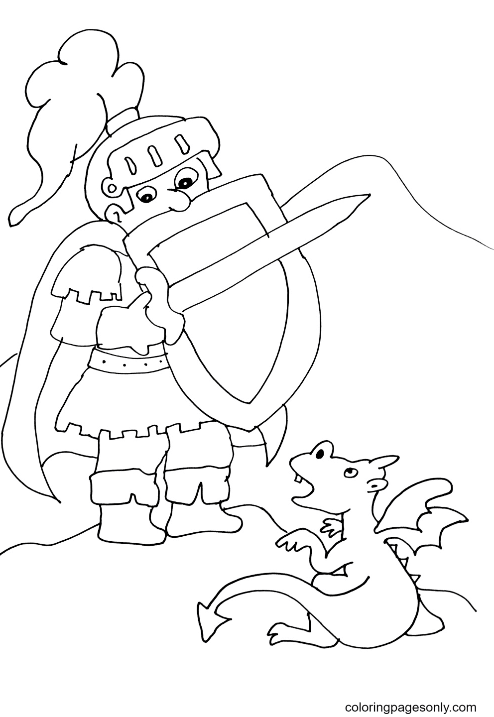 Knight and Baby Dragon Coloring Page