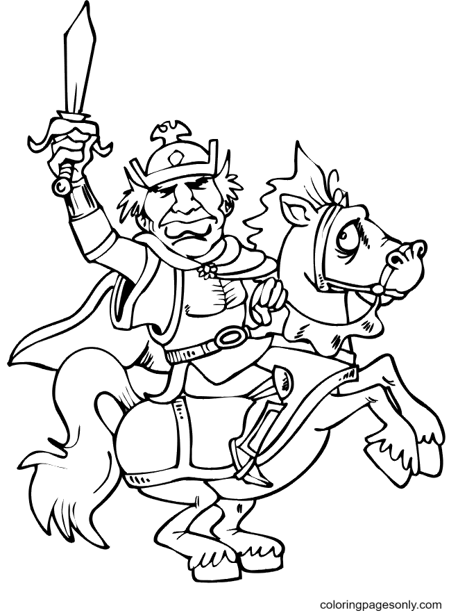 Knight and Steed are Ready Coloring Page