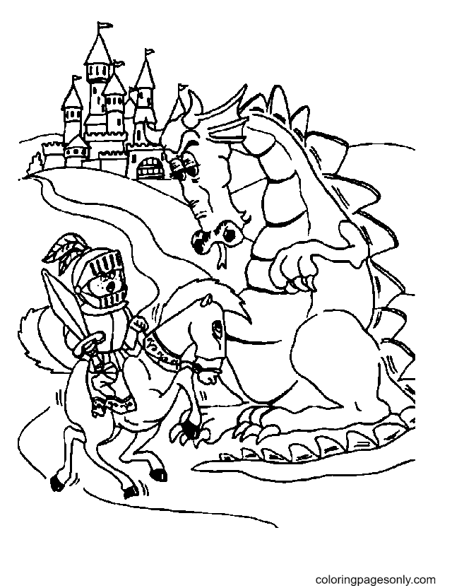 Knight and Steed with a Dragon Coloring Page