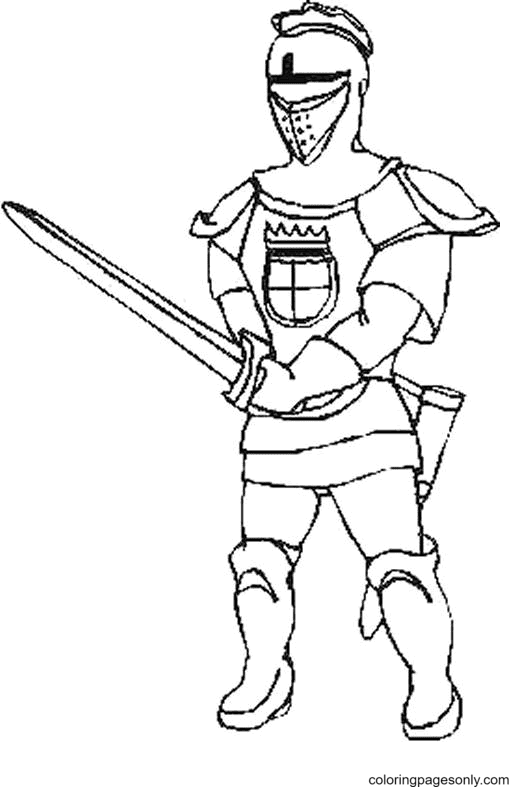 Knight and Sword Coloring Page