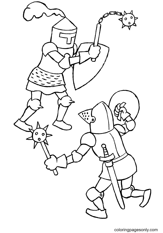 Knight in A Battle Coloring Page