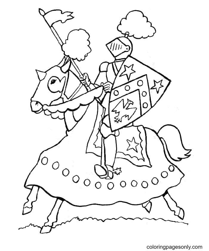 Knight in the Heat of Battle Coloring Page
