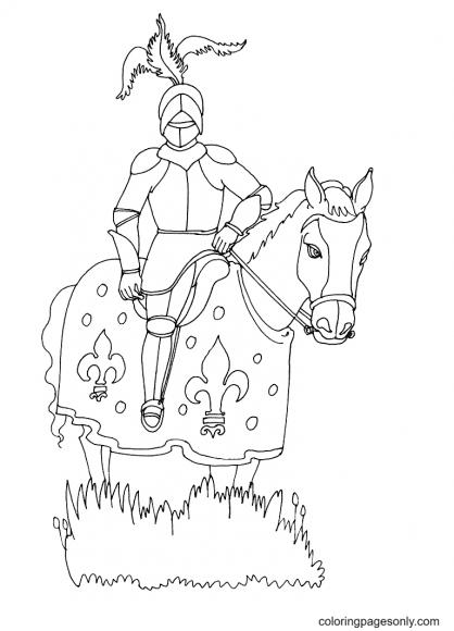 Knight on Horseback Printable Coloring Page