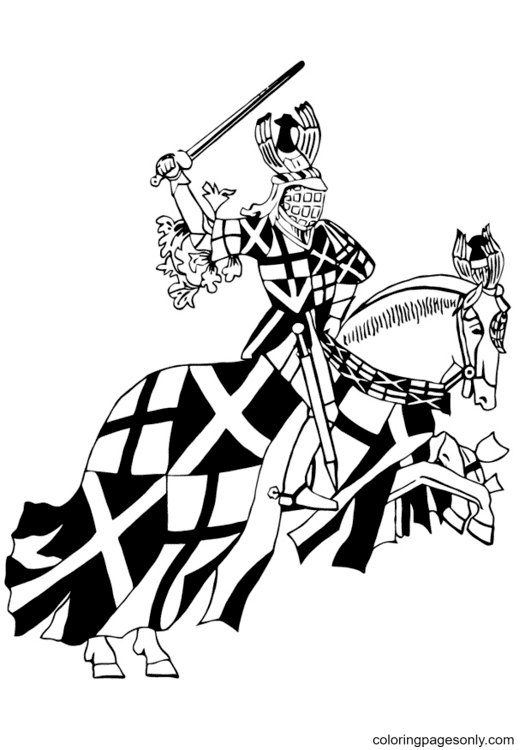 Knight on Horseback Running Coloring Page