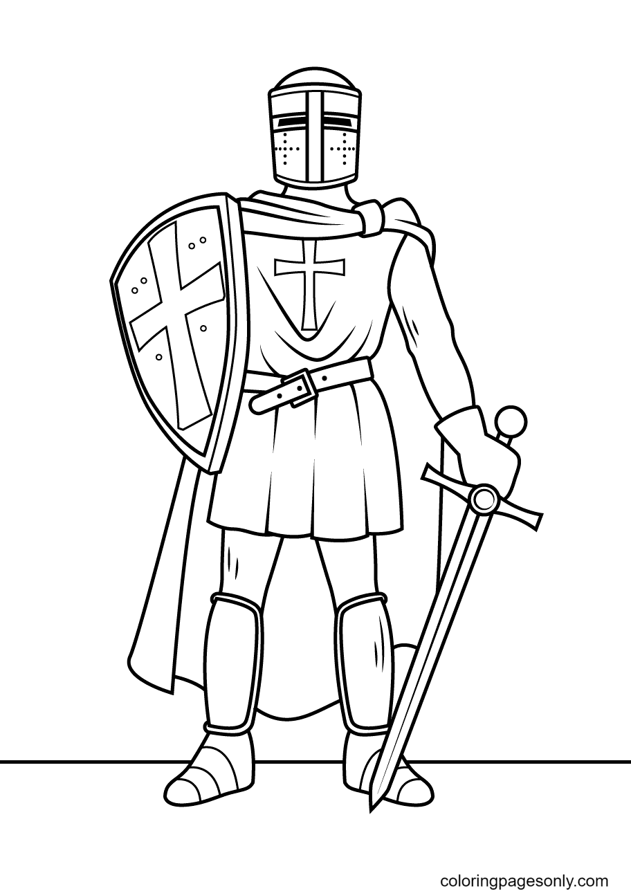 Knight with Shield and Cape Coloring Page