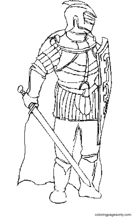Knight with Shield and Sword Coloring Page