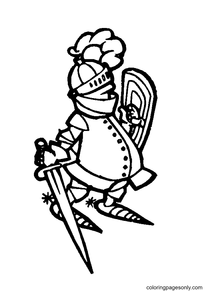 Knight with a Big Belly Coloring Page