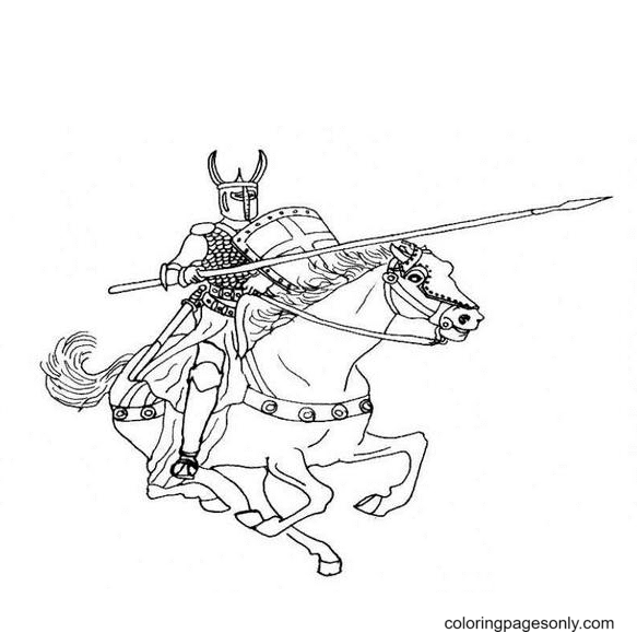 Knights Fighting Coloring Page