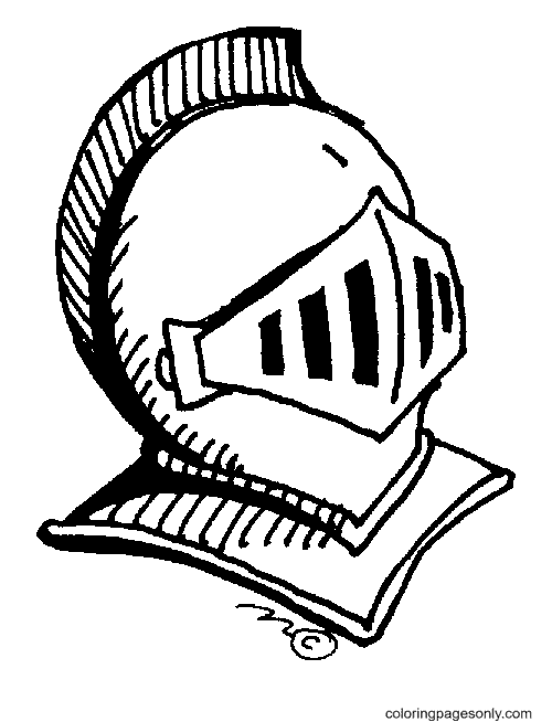 Knight's Helmet Coloring Page