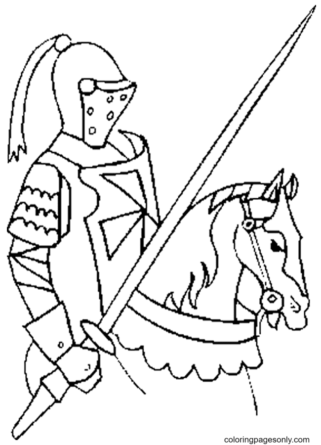 Knights on Horse Coloring Page