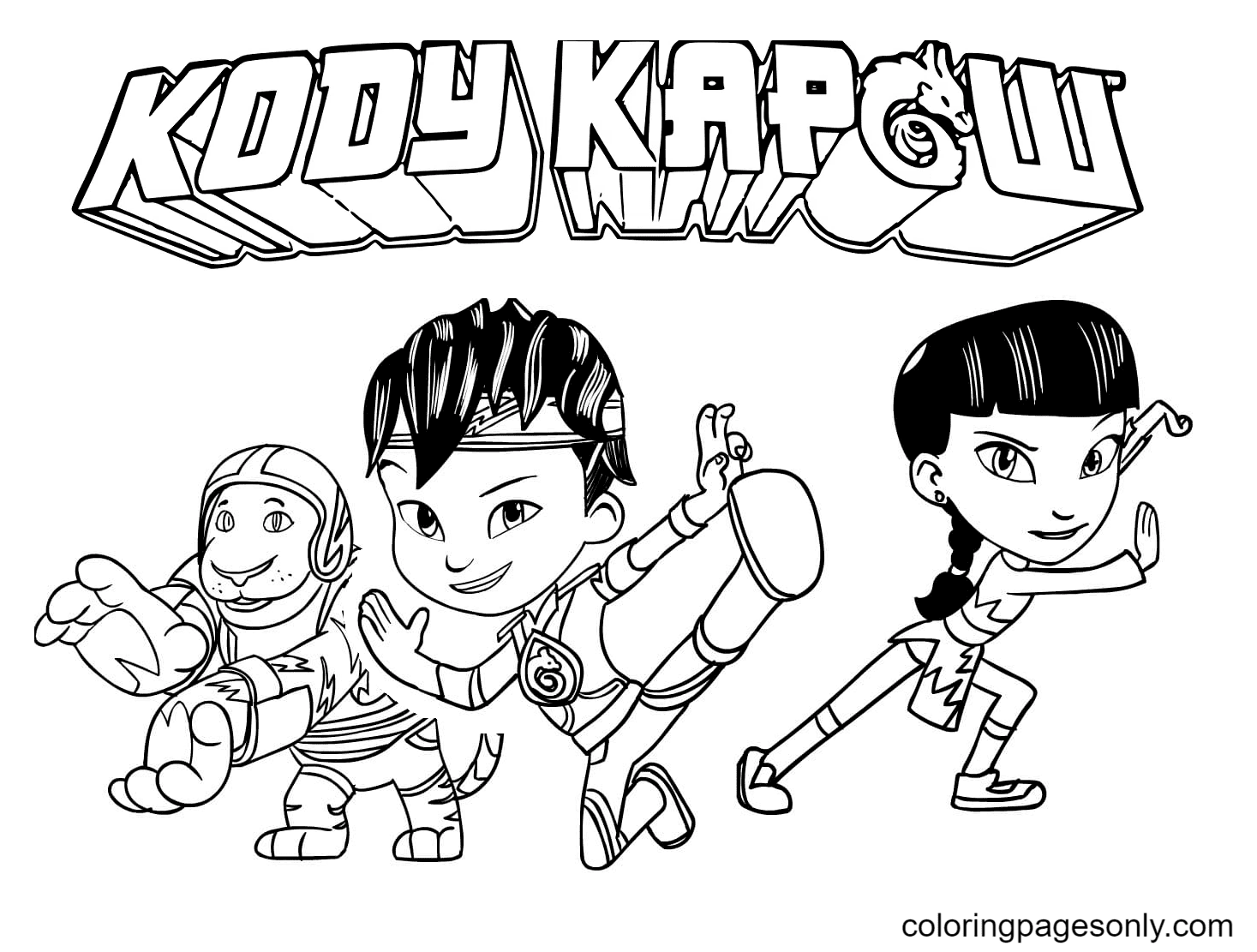 Kody Kapow and Friends Coloring Page