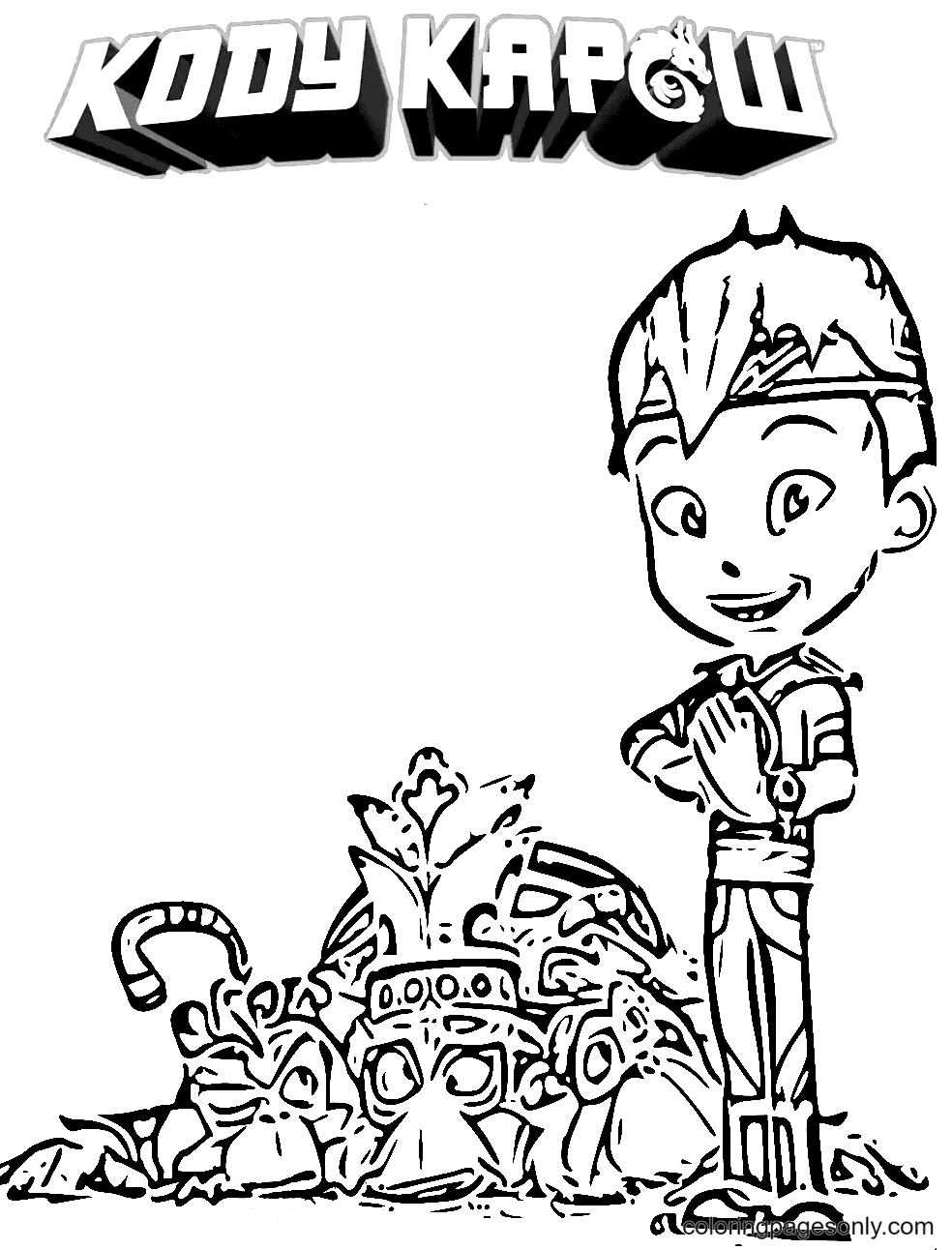 Kody and Mogo Monkey No Go Coloring Page
