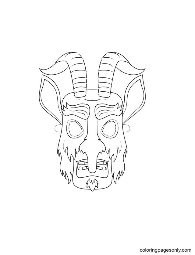 Krampus Mask Coloring Page