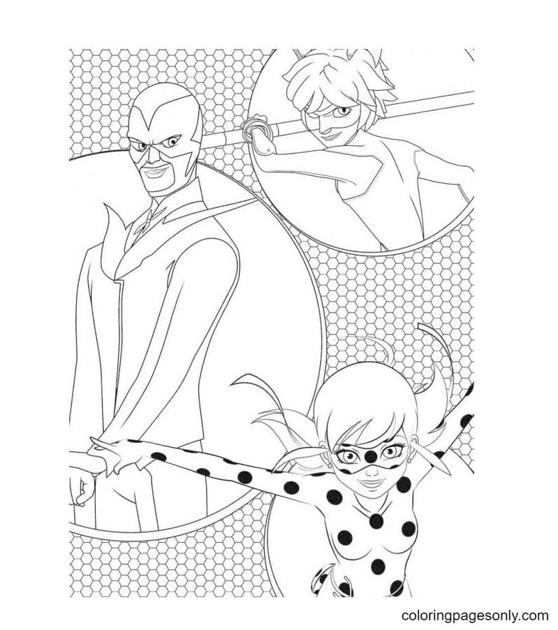 Ladybug and Cat Noir fight against Gabriel Agreste Coloring Page