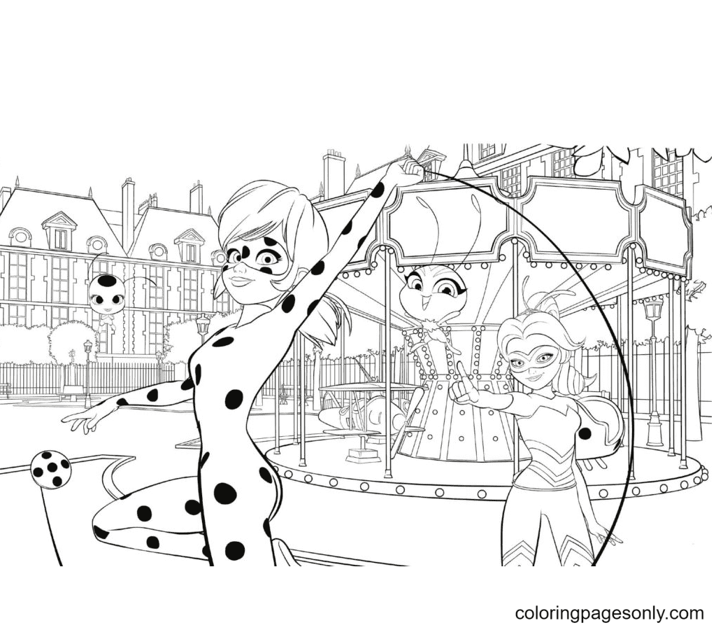 Ladybug at the amusement park Coloring Page