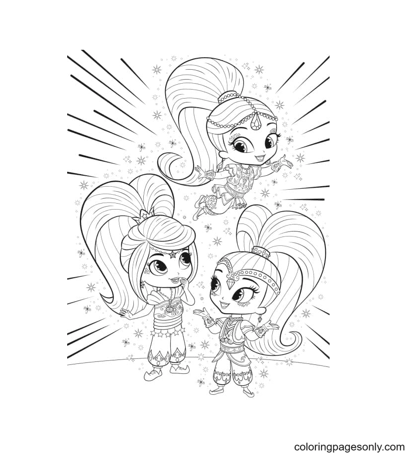 Leah with Shimmer and Shine Coloring Page