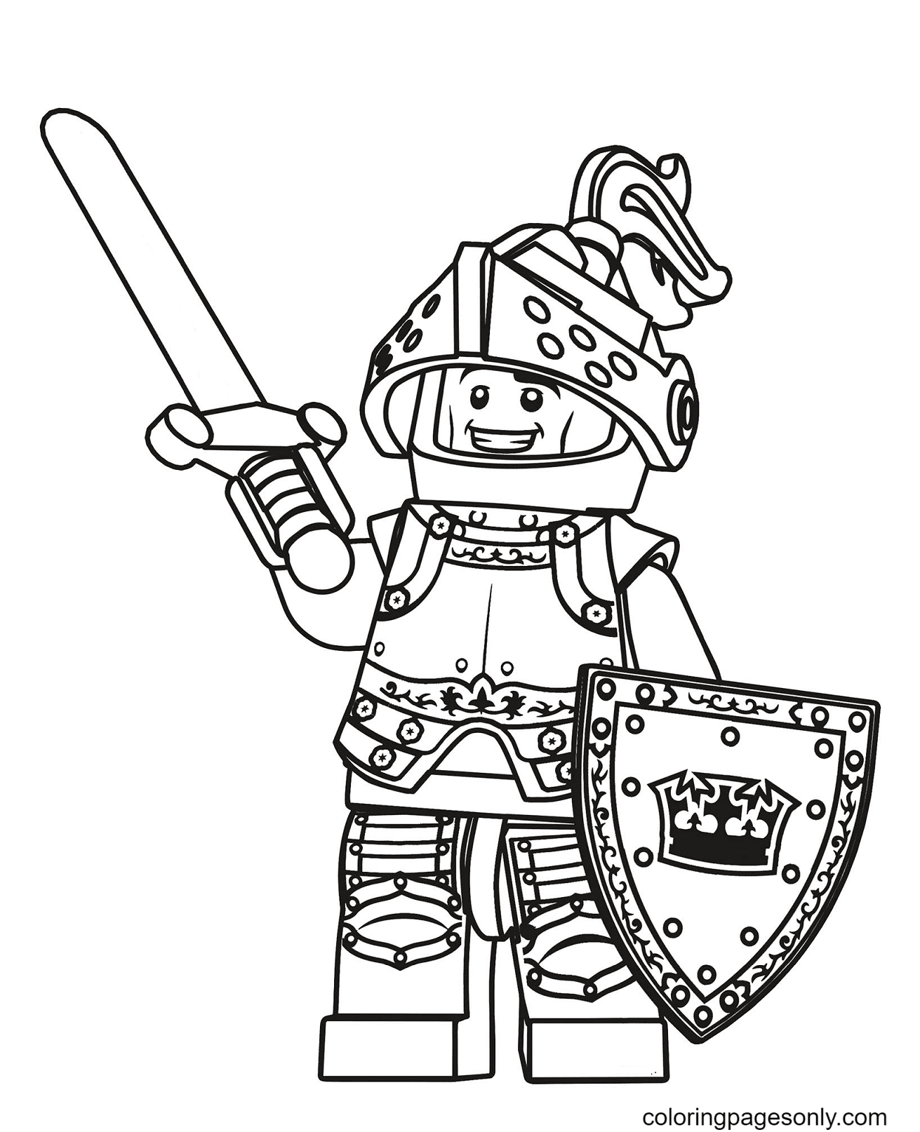 Lego Knight Coloring Page