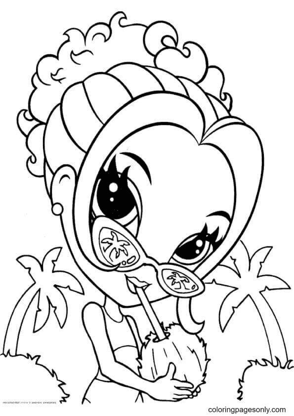 Lisa Frank Girl Drinking Coconut Water Coloring Page