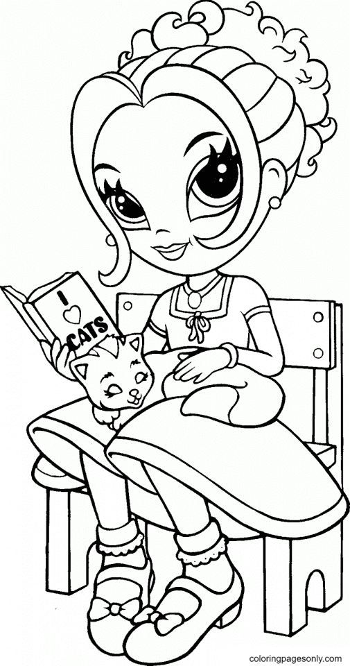 Lisa Frank and cat Coloring Page