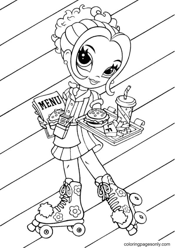 Lisa Frank is rollerblading and eating fast food Coloring Page