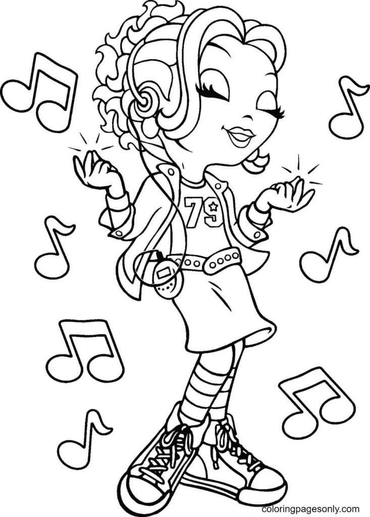 Lisa Frank listens to music Coloring Page