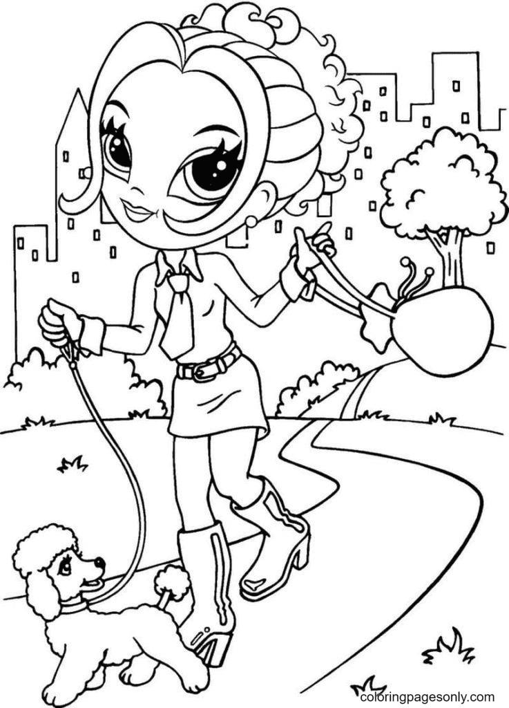 Lisa Frank walks the dog Coloring Page