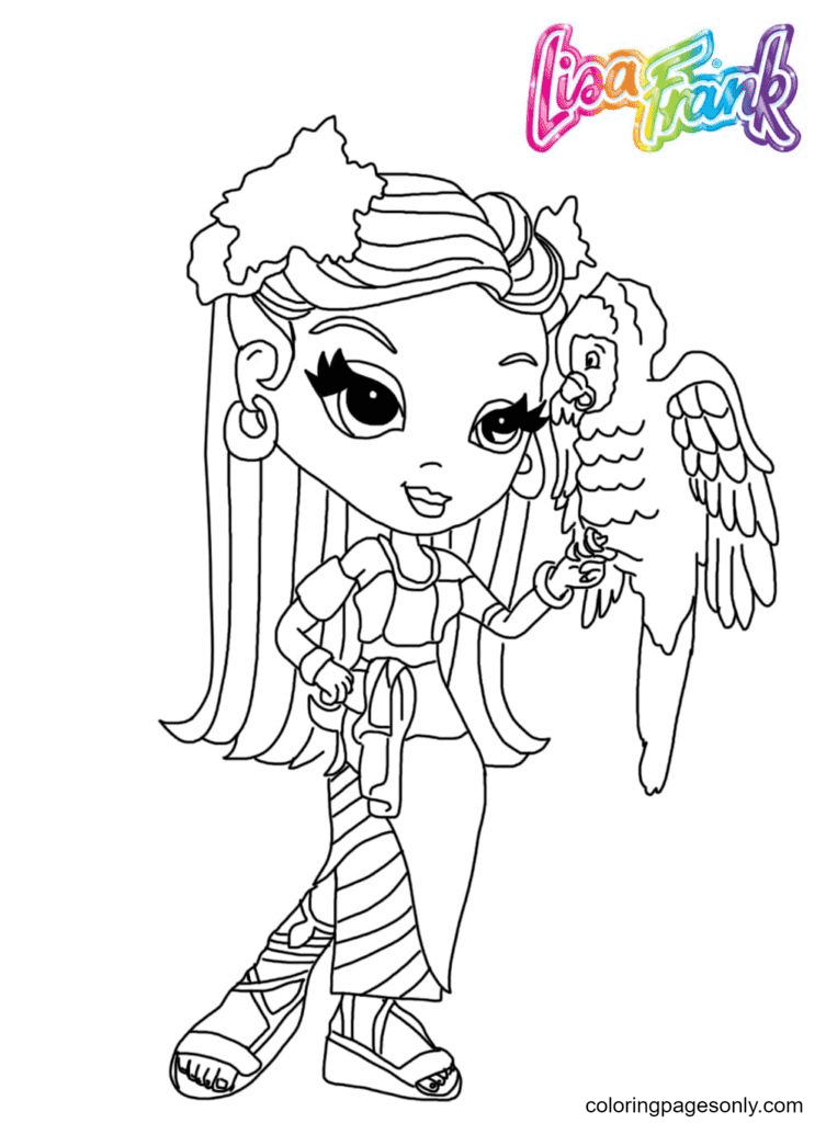 Lisa Frank with a parrot Coloring Page