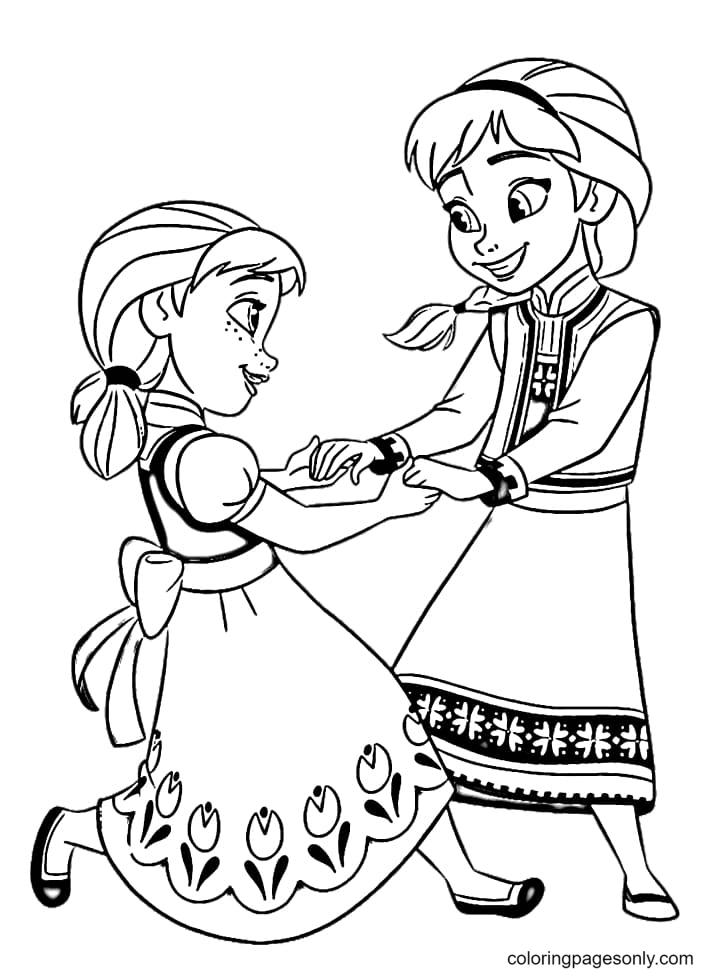 Little Elsa & Anna Coloring Page