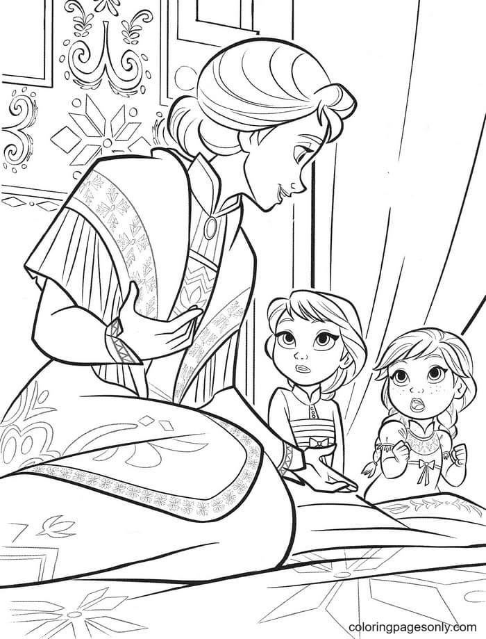 Little Elsa and Anna Coloring Page