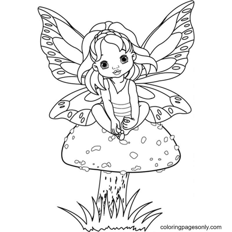 Little Fairy on mushroom Coloring Page