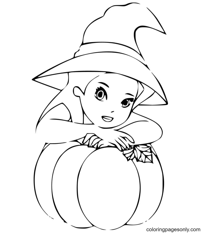 Little Girl Wearing a Witch Hat on Halloween Coloring Page