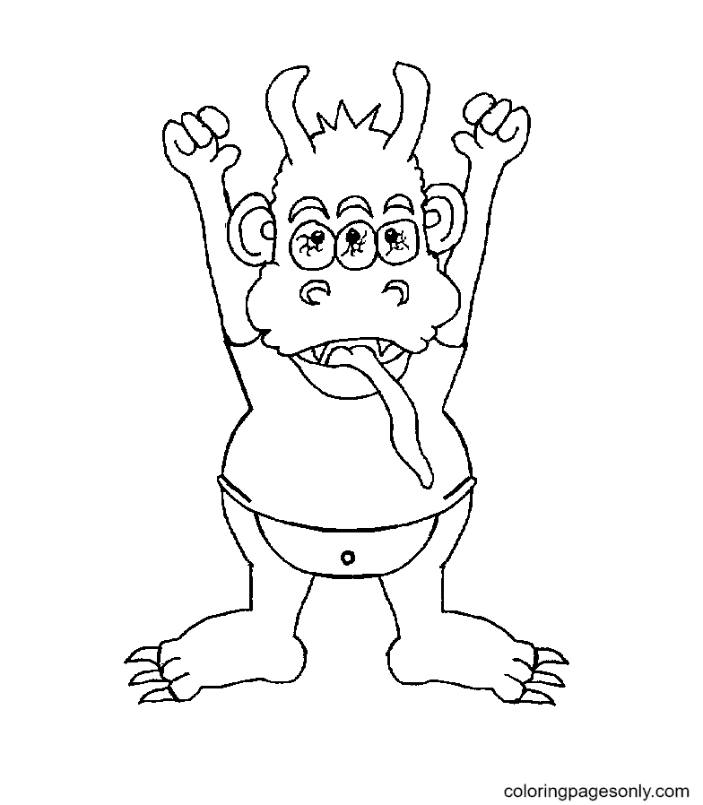 Little Monster Printable Coloring Page