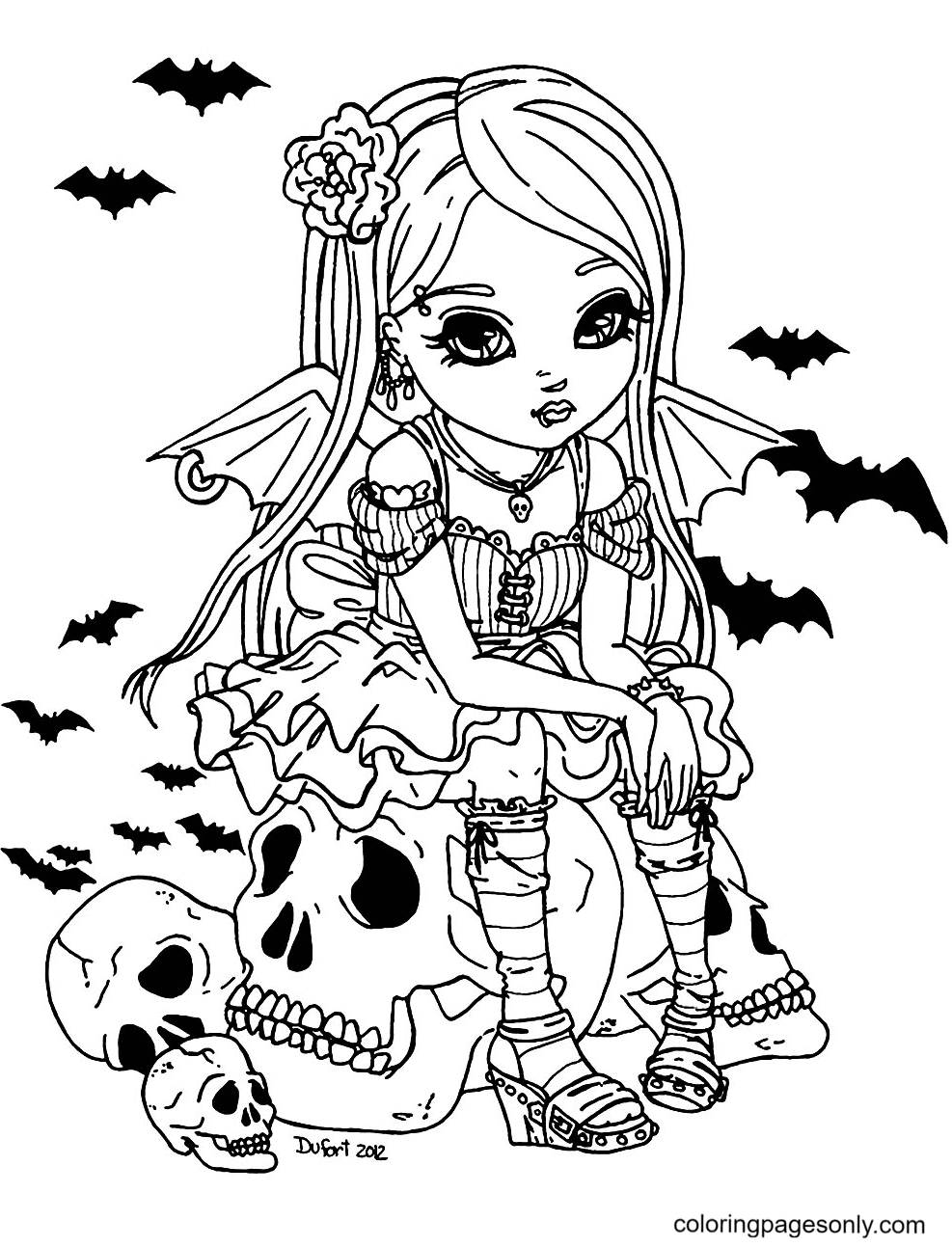 Little Vampire Girl Coloring Page